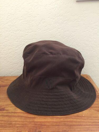 Authentic Brown HERMES HH Logo Bucket Hat Cap Casu