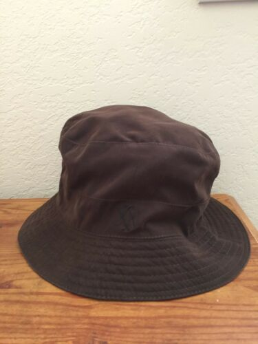 Authentic Brown HERMES HH Logo Bucket Hat Cap Cas… - image 1