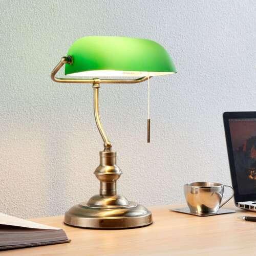 Schreibtischlampe Milenka Bankerstil Lampenwelt Schirm Grün Gestell Altmessing