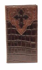 Ariat Western Mens Wallet Leather Rodeo Croc And Cross