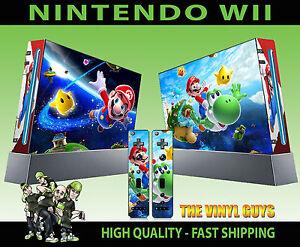 NINTENDO-WII-Pegatina-Super-Mario-Yoshi-Piel-De-Durazno-Luigi-Fontanero-01-amp-2-Pad-Skins