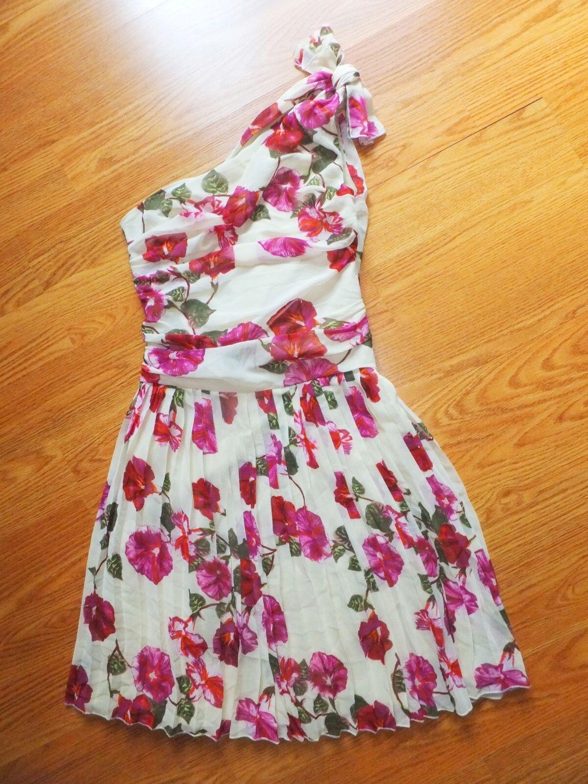 Alberta Ferretti Macys One Shoulder Floral Dress Sz0 XS
