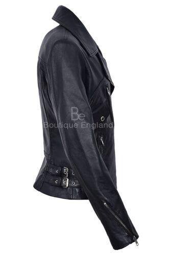 pelle Classic da in Brando Giacca Real Style Black donna 2588 Biker Aq544w0f