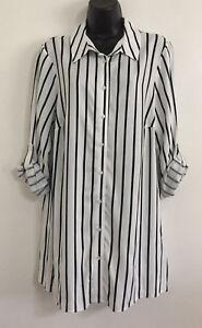 NEW-EX-Ev-ns-Plus-Size-Black-White-Stripe-Button-Down-Boyfriend-Shirt-Size-14-30