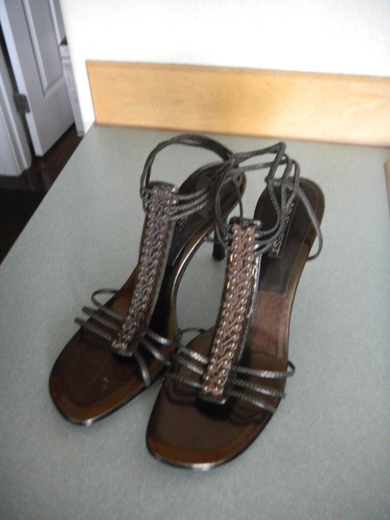 NWOB Nine West Brown Leather Gladiator 'Rochelle' Heel 'Rochelle' Gladiator Size 10 M c3f5d1