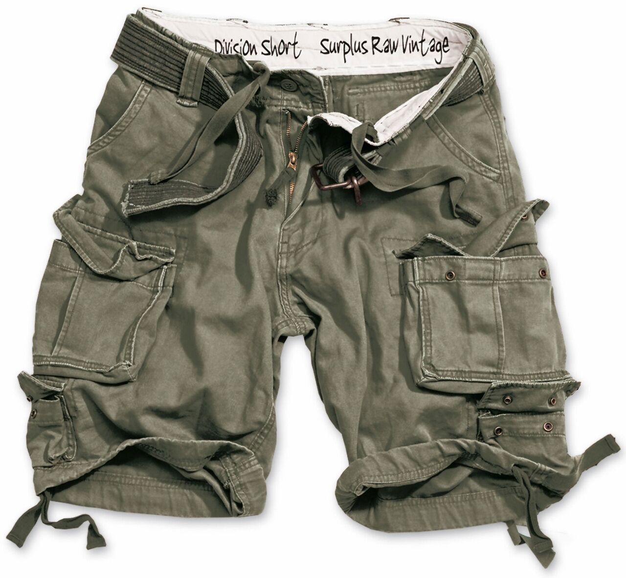 SURPLUS ARMY MENS  DIVISION CARGO SHORTS COMBAT KNEE LENGTH & DELUXE BELT OLIVE  enjoy saving 30-50% off