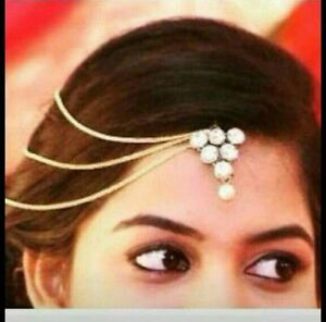 Indian Women Gold Plate Pearl Hair Head Chain Forehead Jewelry