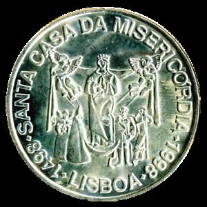 UNC Silver. Portugal 1000 Escudos 1998 Misericordia Church 500th Anniversary