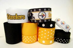 GROSGRAIN-PITTSBURGH-STEELERS-FOOTBALL-RIBBON-LOT-FOR-MAKING-BOWS-CRAFT-11-YARDS
