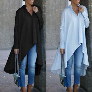 Mode-Femme-Chemise-Loisir-Ample-Asymetrique-Coton-Revers-Manche-Longue-Haut-Plus