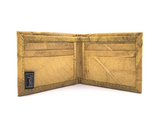 Color Handmade Leaf leather bifold wallet and cards holder for men Yellow