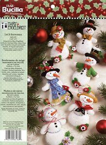 Bucilla-Let-It-Snowman-6-piece-Felt-Christmas-Ornament-Kit-86186-Frosty-Lady