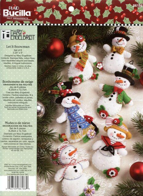 bucilla let it snowman 6 piece felt christmas ornament kit 86186 frosty lady - Felt Christmas Ornaments