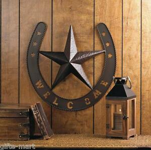Image is loading Rustic-WELCOME-Star-HORSESHOE-country-cowboy-horse-METAL- & Rustic WELCOME Star HORSESHOE country cowboy horse METAL Wall art ...
