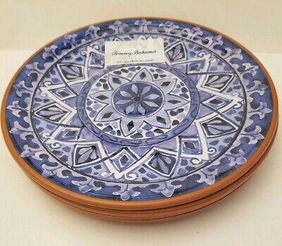 "Tommy Bahama MELAMINE Blue Scroll MEDALLION 11"" DINNER Plates Set of 4 Spanish"