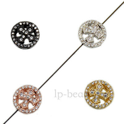 Clear Zircon Gemstones Pave Cross Bracelet Connector Charm Beads Silver Gold
