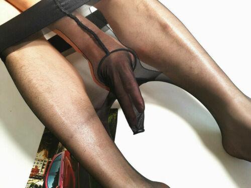 Men Pantyhose Ultra-thin Glossy Nylon Stocking Tights Underwear w// Trunk Sheath