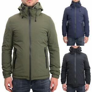 Giubbotto-Uomo-Invernale-Verde-Blu-Nero-Impermeabile-Cappuccio-Giubbino-Bomber