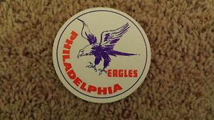 "VERY RARE PHILADELPHIA EAGLES VINTAGE NFL STICKER FROM 1970'S 3"" diameter Fasson"