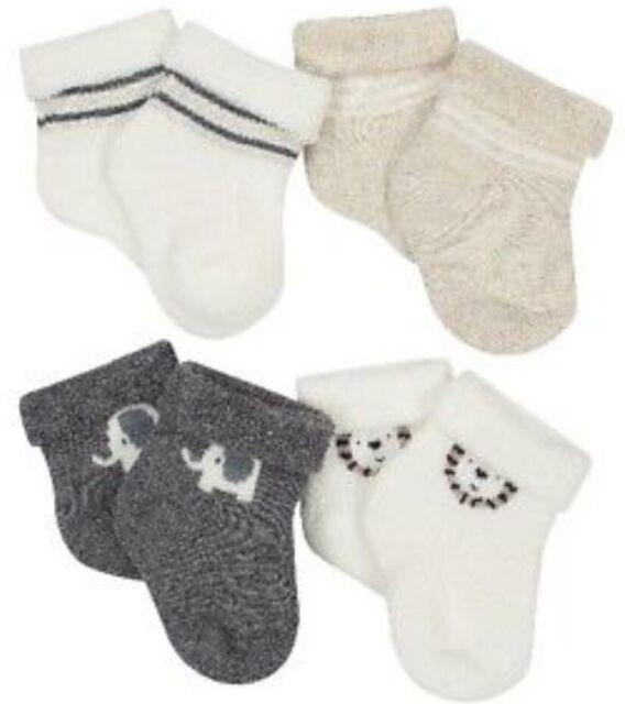 Gerber Baby Boy 4-Pack Safari Organic Cotton Socks Size Newborn Wiggle Proof