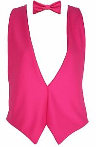 The-Dragons-Den-Neon-Pink-Backless-Elasticated-Waistcoat-amp-Bowtie