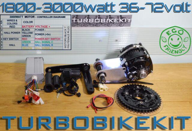 1800w-3000watt 36V-72Volt Waterproof Electric Bike Kit Lipo Battery 48V-72Volt