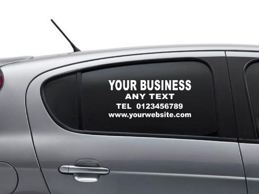 Personalised business side or rear window Car & Van Vinyl Signs Stickers decal