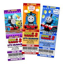 9 NEW DESIGNS !! THOMAS THE TANK TRAIN BIRTHDAY PARTY INVITATION TICKET baby 1st