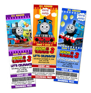 9 new designs thomas the tank train birthday party invitation