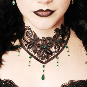 Victorian-gothic-lace-choker-necklace-goth-Emerald-green-NOCTURNE-steampunk