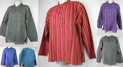 Handmade Half Sleeve Collarless Boho Casual Cotton Shirt Top Kurta Pirate CHS1