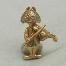 9ct GOLD 3D CAT & FIDDLE  CHARM