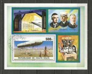 UPPER-VOLTA-1976-The-75th-Anniversary-of-Zeppelin-Airships-USED-MINI-SHEET