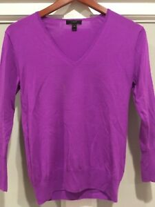af5820b4284 J.Crew women s light weight cotton v neck sweater violet size XS