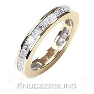 Genuine-Diamond-Ring-2-20ct-Princess-Cut-F-VS1-18ct-Gold-Eternity-Wedding-Ring
