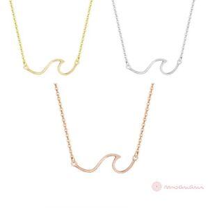 Halskette-Halsketten-Welle-Ozeanwelle-Anhaenger-Gold-Silber-Rosegold-Edelstahl