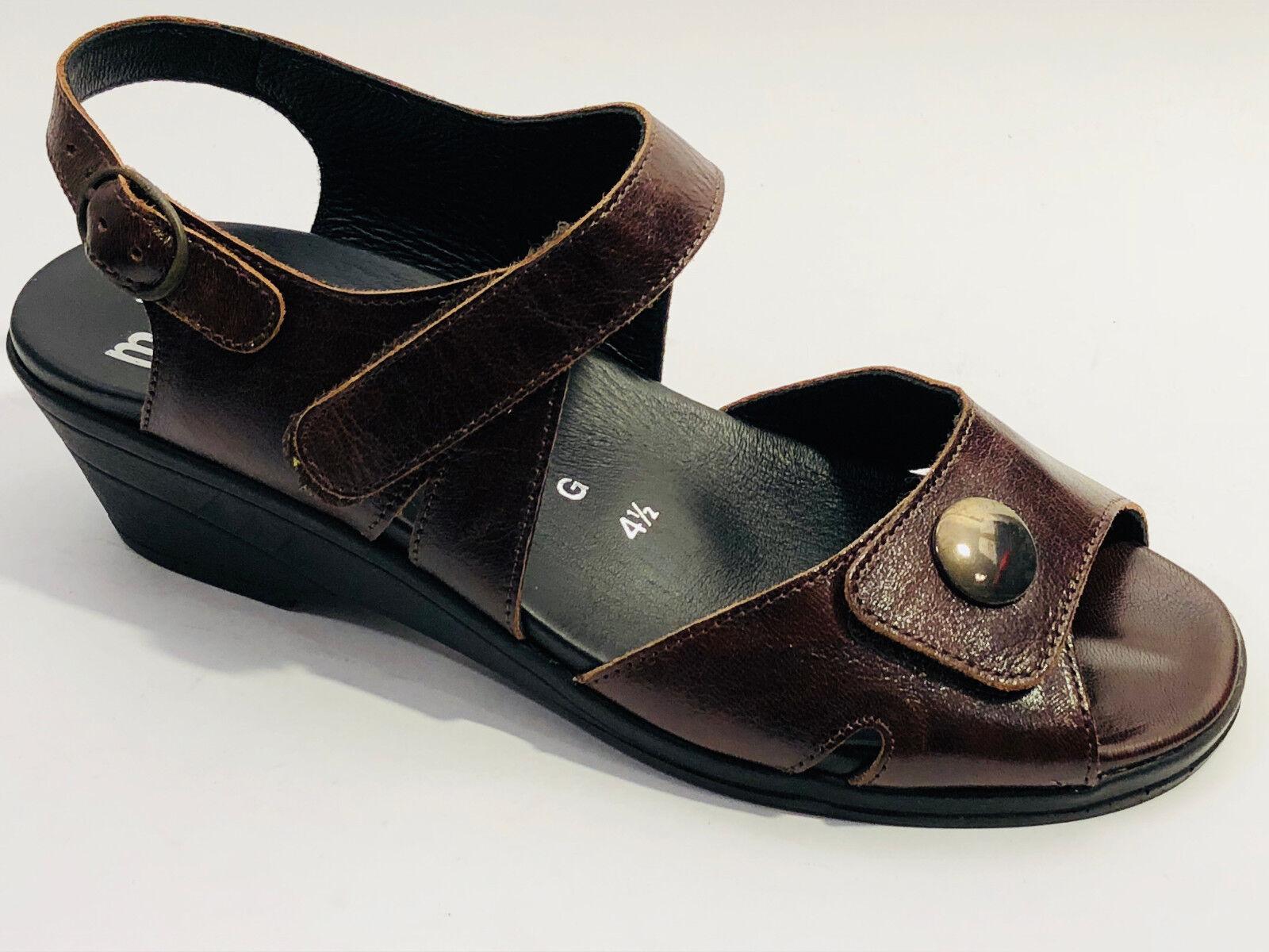 Meisi zapatos cuero liso sandalias tamaño 37,5 (UK 4,5) marrón marrón marrón de velcro  Descuento del 70% barato