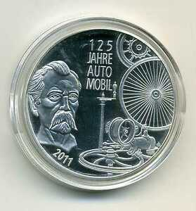 Details Zu Medaille Zu Den Deutschen 10 Euro Münzen 125 Jah Automobil 2011 Versilbert M005