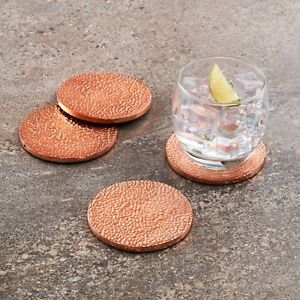 Set-Of-Copper-Hammered-Rose-Gold-Metallic-Drinks-Coasters-with-felt-base