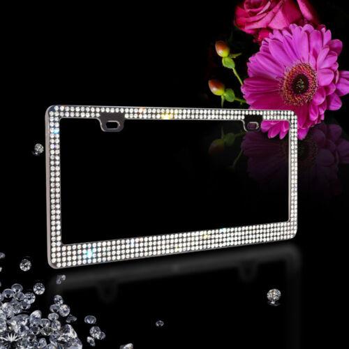 ***4 ROW White Bling Real Crystal Embedded Black Metal License Plate Frame*** B