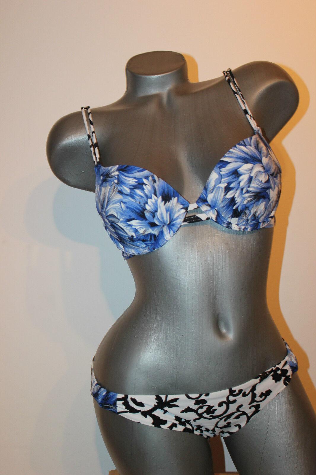 Triumph Push-Up Bikini  Capri CTOWU  blue weiss 75 B + Mini 38 exklusiver Bikini