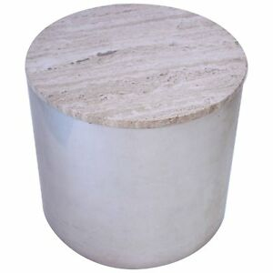Image Is Loading Stainless Steel Drum Table With Marble Top By