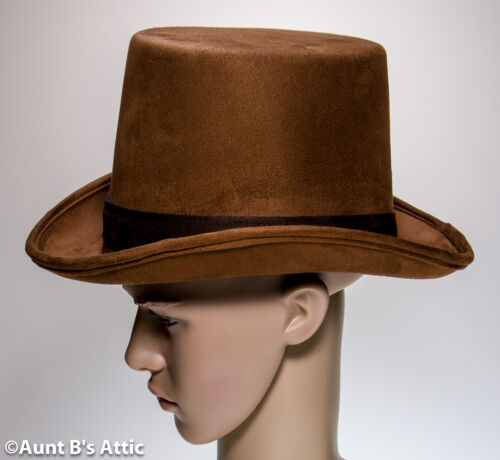 Top Hat Medium Brown Faux Suede Victorian Style Gentleman/'s Costume Dress Hat