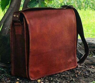 New Genuine Vintage Brown Leather Messenger Bag Shoulder Laptop Bag Briefcase