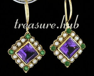 E165-Genuine-9ct-Yellow-Gold-NATURAL-Amethyst-amp-Pearl-Suffragette-Drop-Earrings