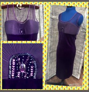 Purple-Velvet-12-Evening-Dress-Prom-Ball-Party-Wedding-Mother-Of-Bride-Cocktail
