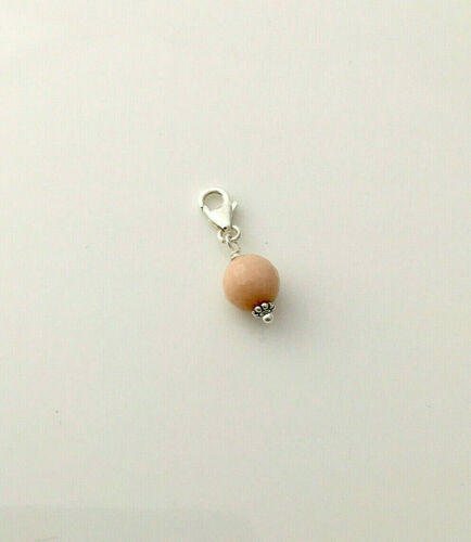 925 sterling silver 8mm natural SUNSTONE gemstone faceted bead clip on charm