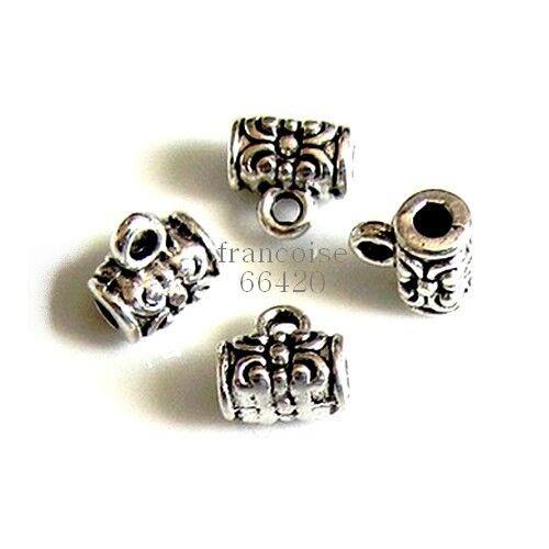 10 Bélières attache breloque arg 7x7x5mm Apprêts création bijoux bracelet /_ A304