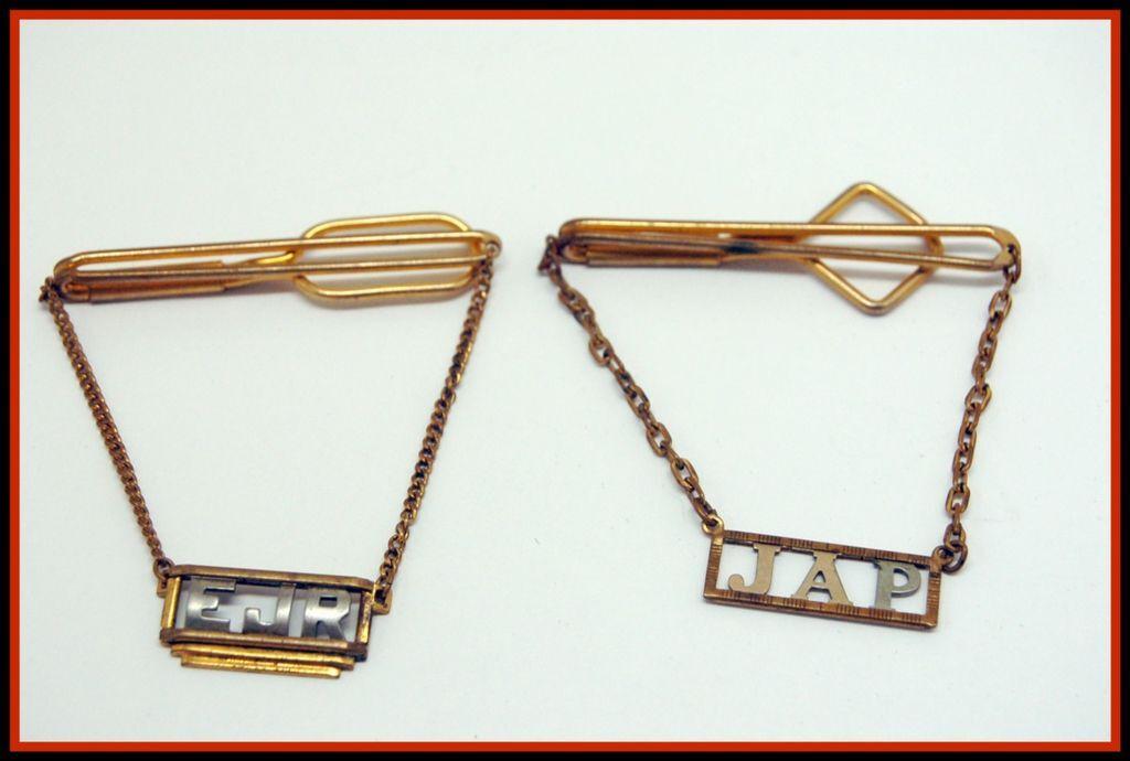 Mens 1930's Swank 2 TIE BAR clasp Drop Chain INITIALS