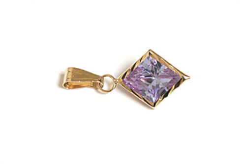 9ct Gold Lilac Cubic Zirconia necklace Pendant no chain Gift Boxed Made in UK